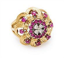 An 18 Karat Yellow Gold, Ruby and Diamond Ring, 5.10 dwts.