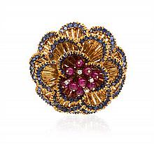 An 18 Karat Yellow Gold, Ruby, Sapphire and Diamond Brooch, Toliro, 16.30 dwts.
