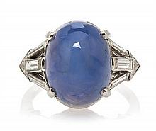 * A Platinum, Star Sapphire and Diamond Ring, 5.00 dwts.