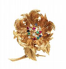 An 18 Karat Yellow Gold, Diamond, Sapphire, Ruby, and Emerald Articulated En Tremblant Flower Brooch, Hammerman Brothers, 19.90 dwts.