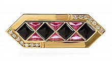 An 18 Karat Yellow Gold, Onyx, Tourmaline and Diamond Brooch, 9.10 dwts.