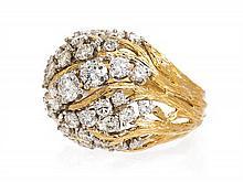An 18 Karat Yellow Gold, Platinum and Diamond Ring, David Webb, 13.40 dwts.