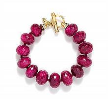 * An 18 Karat Yellow Gold, Ruby and Diamond Bracelet, Cristina Ferrare,