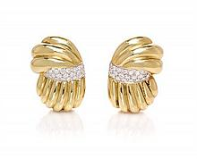 A Pair of 18 Karat Gold and Diamond Earclips, Damiani, 9.80 dwts.