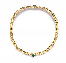 An 18 Karat Yellow Gold, Emerald and Diamond Collar Necklace, 46.70 dwts.
