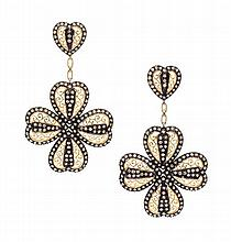 * A Pair of Yellow Gold, Sterling Silver and Diamond Pendant Earclips, 19.00 dwts.