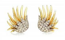 A Pair of 18 Karat Gold and Diamond Earclips, 11.00 dwts.