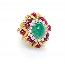 An 18 Karat Yellow Gold, Emerald, Ruby and Diamond Ring, 10.20 dwts.