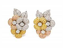 A Pair of 18 Karat Tri-Color Gold, Colored Diamond and Diamond Earclips, Assil, 27.40 dwts.