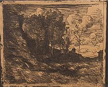 * Jean-Baptiste-Camille Corot, (French, 1796-1875), Souvenir d'Ostie, 1921