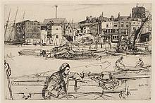 James Abbott McNeill Whistler, (American, 1834-1903), Old Westminster Bridge (from the Thames set) and Black Lion Wharf (a pair of etch