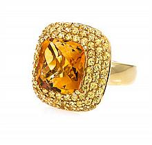 An 18 Karat Yellow Gold, Citrine and Yellow Sapphire Ring, 8.50 dwts.