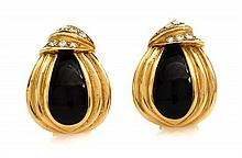 A Pair of 18 Karat Yellow Gold, Onyx and Diamond Earclips, 12.50 dwts.