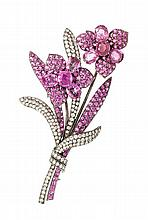 An 18 Karat White Gold, Pink Sapphire and Diamond En Tremblant Flower Brooch, Michael Youssoufian, 23.60 dwts.