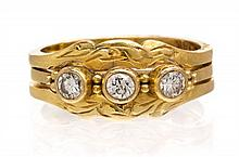 A Collection of 18 Karat Yellow Gold and Diamond Rings, 3.70 dwts.