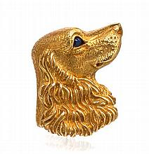 An 18 Karat Yellow Gold and Sapphire Dog Brooch, Tiffany & Co., Germany, Circa 1989, 6.60 dwts.
