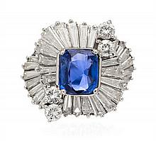 A Platinum, Sapphire and Diamond Ring, 7.40 dwts.