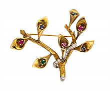 * A Gold, Diamond, Synthetic and Simulated Gem Brooch, 13.65 dwts.
