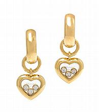A Pair of 18 Karat Yellow Gold and Diamond Happy Earrings, Chopard, 8.80 dwts.