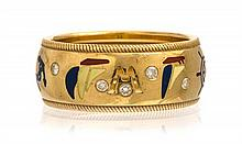 An 18 Karat Yellow Gold, Diamond and Polychrome Enamel Nautical Motif Band, 6.10 dwts.