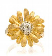 * An 18 Karat Yellow Gold and Colored Diamond Ring, 3.90 dwts.