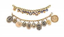 A Collection of Gold Charm Bracelets, 77.50 dwts.