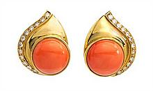 A Pair of 18 Karat Yellow Gold, Coral and Diamond Earclips, 12.30 dwts.