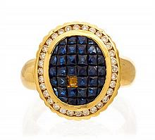 An 18 Karat Yellow Gold, Sapphire and Diamond Ring, 6.60 dwts.