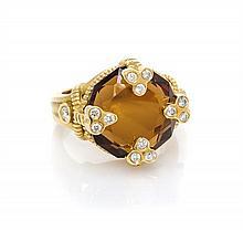 An 18 Karat Yellow Gold, Smokey Quartz and Diamond Ring, 6.80 dwts.