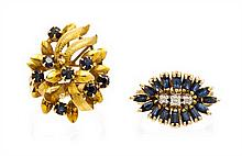 A Collection of Yellow Gold, Sapphire, and Diamond Jewelry, 14.30 dwts.