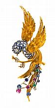 An 18 Karat Yellow Gold, Sapphire, Diamond, Ruby and Emerald Bird Brooch, 12.00 dwts.