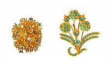 A Collection of Yellow Gold, Emerald, Diamond and Turquoise Brooches, 20.80 dwts.