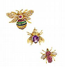 A Collection of Yellow Gold and Multi Gem Bee Brooch, 10.20 dwts.