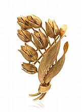 An 18 Karat Yellow Gold Tulip Brooch, Tiffany & Co., 5.90 dwts.