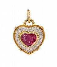 An 18 Karat Yellow Gold, Ruby and Diamond Heart Pendant, 5.10 dwts.