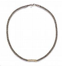 A Sterling Silver, 18 Karat Yellow Gold and Diamond Signature Caviar Necklace, Lagos, 28.20 dwts.
