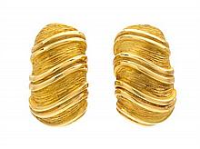 A Pair of 18 Karat Gold Earclips, Didier Guerin, 13.90 dwts.