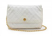 * A Chanel White Quilted Leather Flap Bag, 11 1/2 x 9 x 1 1/2 inches.
