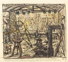 * William T. Wiley, (American, b. 1937), Studio Interior, 1975