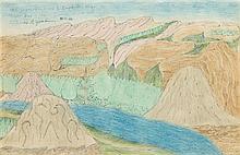 * Joseph E. Yoakum, (American, 1886-1973), Mt. Jebel-Ed-Druz & Euphrates River Near Bursa-Ash-Sham Syria Asia, 1970