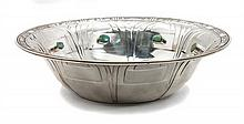 A Navajo Silver and Turquoise Bowl, Edison Begay Diameter 9 1/8 inches.