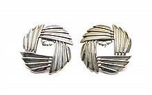 A Pair of Navajo Silver Earrings, Harvey Begay Diameter 1 1/4 inches.