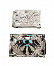 A Southwestern Silver, Turquoise and Mother of Pearl Belt Buckle Height of first 2 x width 3 inches.