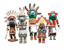 Five Contemporary Hopi Kachina Dolls Height of tallest 14 1/2 inches.