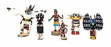 Six Kachina Dolls Height of largest 9 inches.