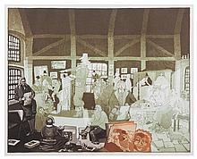 Warrington Colescott, (American, b. 1921), History of Printmaking: Rembrandt Bankrupt, 1978