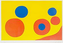 * Alexander Calder, (American, 1898-1976), Untitled (Orange and Blue Spheres), 1970