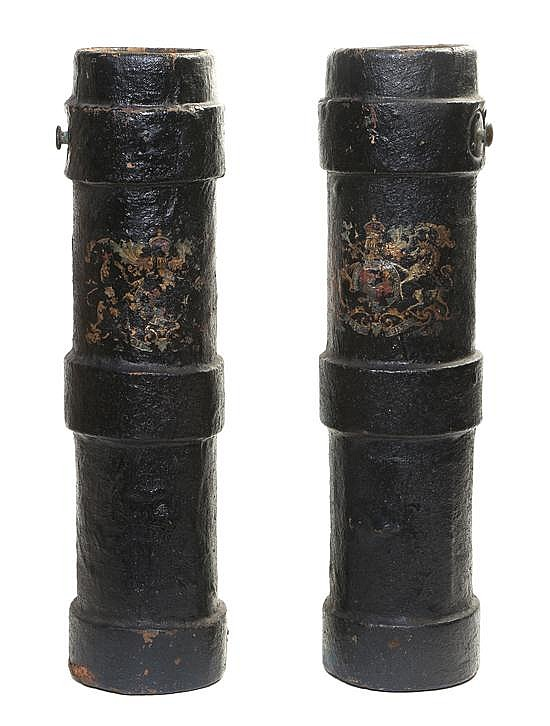 A Pair of English Fire Buckets, Height 23 inches.