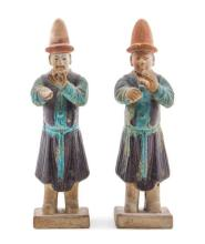 Two Purple and Turquoise Glazed Pottery Figures of Musicians Height of taller 10 3/4 inches.