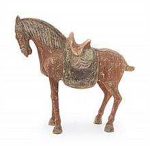 A Red Painted Pottery Figure of a Horse Height 16 1/2 inches.